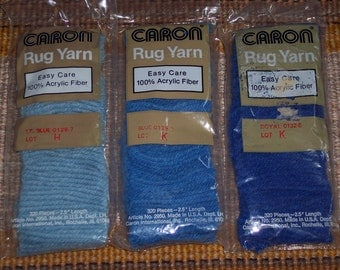 Vintage Caron rug yarn,Blues,color numbers 0128-7,0129-0,0132-6,100% Acrylic,latch hooking,Made in USA,320 pcs/pkg,precut