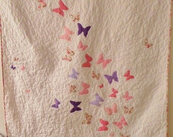 Butterfly - Twin size girl quilt - Twin bed quilt for girls - Twin size bedding - Homemade quilt