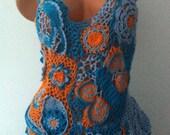 Crochet top OOAK top Summer top Forget me not Unique crocheted top Irish crocheted top with flowers Freeform crocheted top