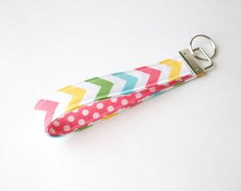 Wristlet Keychain-pastel chevron and pink polka dot, key fob, preppy keychain