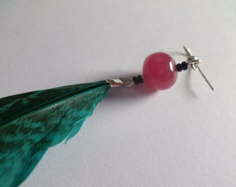 Single Feather Earring with Large Feather