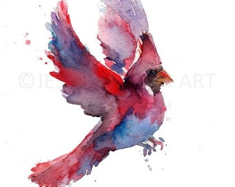 Cardinal Watercolor Painting Print, Cardinal Watercolor, Cardinal Painting, Print of Cardinal, Bird Painting, Bird Watercolor, Cardinal Art