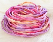 6x Hand dyed Silk Cords  - 2mm in rainbow colors - silk strings
