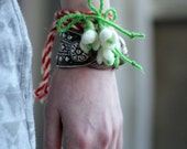 Martenitsa Set Of Three Bracelet With Small Snowdrop - Old Bulgarian tradition related to welcoming the upcoming spring Good Luck Talisman
