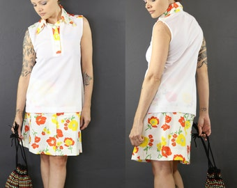 70s Floral 2pc Sleeveless Top  Floral Skirt XS SM