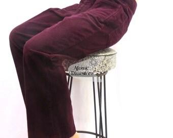 Vintage 1970s bell bottoms plush corduroy burgundy bell bottoms