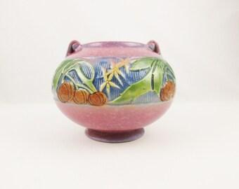 Deco Art Pottery 'Baneda Bulbous Vase' - Roseville Art Pottery - Lovely 'Pink', Mottled Rose Color With Yellow, Blue, Green and Orange