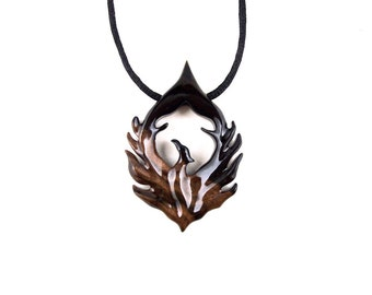 Phoenix Necklace, Phoenix Pendant, Phoenix Jewelry, Wood Phoenix Rising Necklace, Firebird Necklace, Bird Necklace Bird Jewelry Wood Jewelry