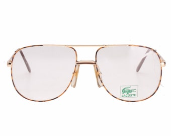Lacoste 101 F golden tortoise textured aviator spectacles - eyeglasses frames hand made in France, 1980s NOS