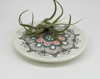 mandala plate small circle dish trinket tray handmade wheel thrown pottery porcelain ring dish hippie spirituality julia claire clay