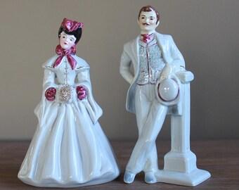Elegant Vintage FLORENCE Ceramics 1950s Porcelain JIM and ELAINE Figurines Lady Victorian Spaghetti Muff Retro Mid Century Modern