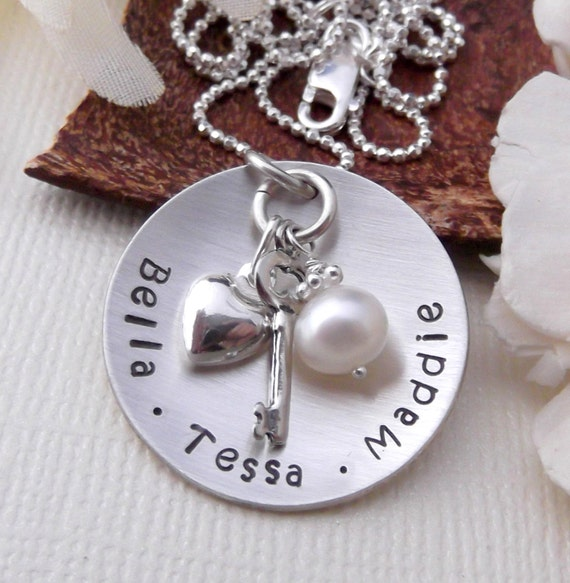 Personalized Mom Necklace- Gift For Mom-Mommy Jewelry- Mom Circle Necklace- Hand Stamped Mom Necklace- Mother's Day- Grandma Necklace