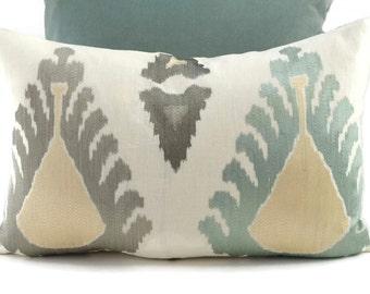 Lumbar Throw Pillow Cover, Aqua, Ivory & Taupe Embroidered Linen Ikat Print Pillow Cover, Lee Jofa Exuberance, 14x22 Lumbar Pillow Cover