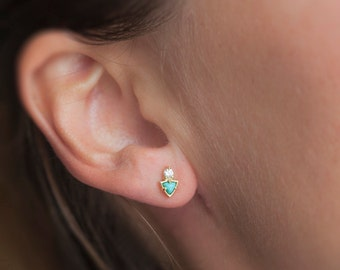 Gold Turquoise Earrings, Turquoise Stud Earrings, Turquoise Diamond Earrings, Diamond Turquoise Studs, Dainty Gold Studs, Gift for Her
