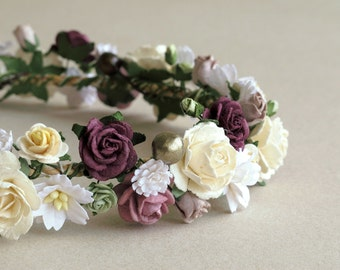 Plum & Ivory Flower Crown - Paper flower headpiece - Made of mulberry paper and natural twine