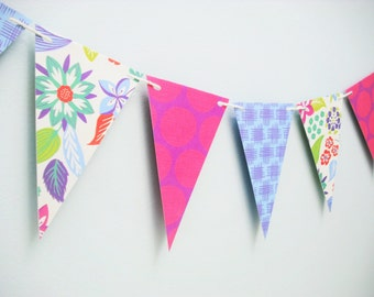 Tropical Bunting Banner Floral Polka Dot Birthday Party Decor Garland