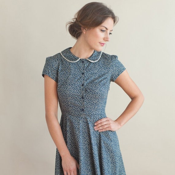 Navy floral dress with peter pan collar