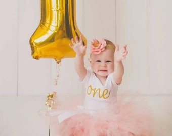 Peach and gold birthday outfit, tutu outfit