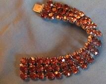 1950s Bracelet,  Mid Century Bracelet, 1950s Brown Rhinestone Bracelet, Topaz-Colored Wide Rhinestone Bracelet, Vintage Rhinestone Bracelet