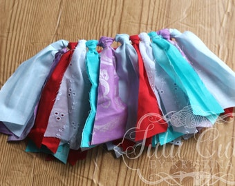 Newborn Fabric Tutu, Ready to Ship, Red Purple Turquoise white, Photo prop, Coming home outfit, baby shower gift, Shabby Tutu, Scrap Tutu
