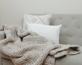 Chunky Knit Throw Blanket Wool Afghan | THE OLYMPIA