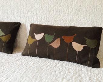 Kids Animal Cushion - Birds Applique Cushion, Cute Decor Pillows, Nursery Pillowcases, Kids Pillow Decor, Woodland Nursery, Designer Pillows