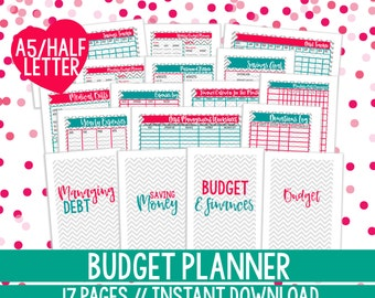 Printable Budget Planner, HALF LETTER SIZE, Finance Planner, Budget Printable, Financial Planner, Budget Planner Kit, 17 Pages, Chevron
