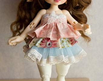 Pink and blue layered dress for Realfee