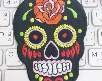 Skull Iron on Patch - Black Sugar Skull Applique Embroidered Iron on Patch