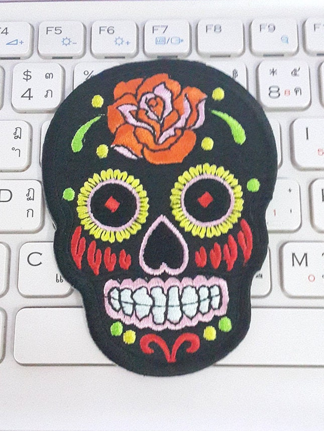 Skull Iron on Patch Black Sugar Skull Applique Embroidered