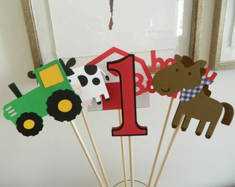 Farm Animal Barnyard Centerpiece Sticks Barnyard Birthday Centerpiece Barnyard Table Decor Farm Birthday Decorations • Set of 6