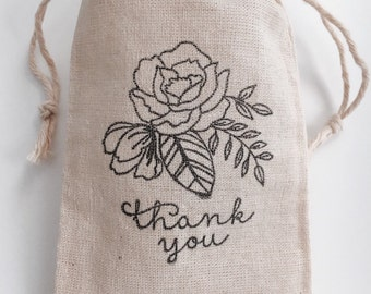 Flower Thank you Wedding Muslin Favor Bags, Set of 10 (3x5 shown)