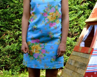 Sleeveless Shift Dress Sky Blue Vintage floral Fabric size 10/38