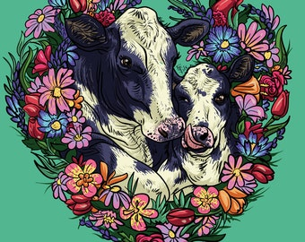 "Happy Cows (""We Are Not Objects"" Series) 3"" x 4"" Sticker or Magnet - Vegan - Vegetarian - Animal Welfare - Fight Animal Abuse!"