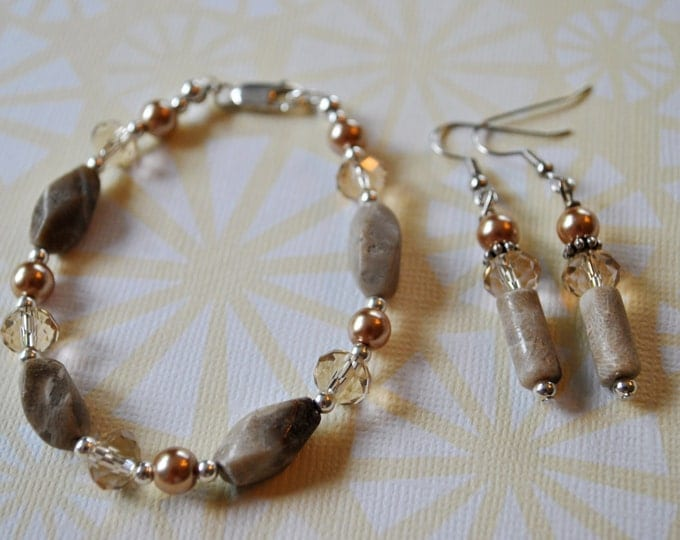 Petoskey Stone Bracelet set with twisted Petoskey stone beads, crystals, sterling silver beads, pearls,  Up North bracelet, Michigan