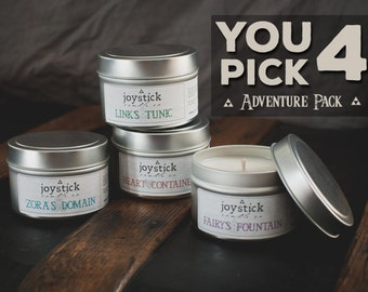 YOU PICK 4 Adventure Pack (4oz.) - Zelda Inspired Candles, Natural Soy Candles, The Legend of Zelda, Geeky Gifts, Gamer Gifts