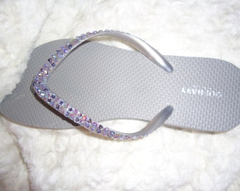 Silver Crystal Flip Flops With Purple Crystals
