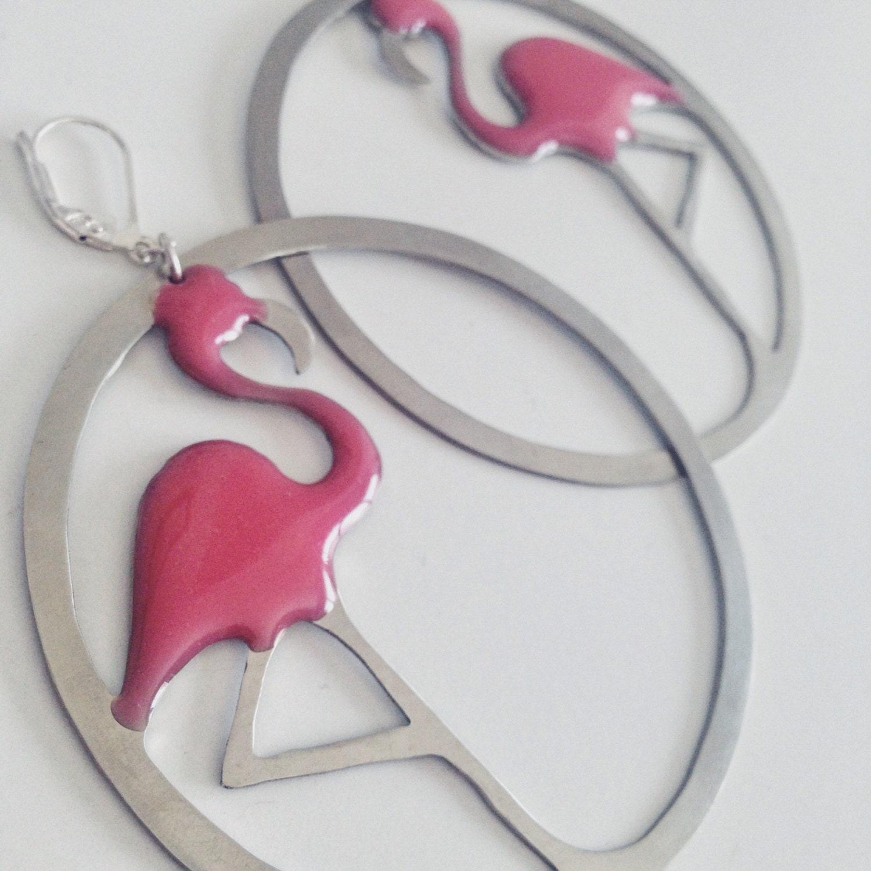 Hoops Earrings,pink Flamingos Earrings,flamingo Earrings,flamingos Hoops, Flamingo Jewelry,tropical Earrings,statement Earrings,big Earrings