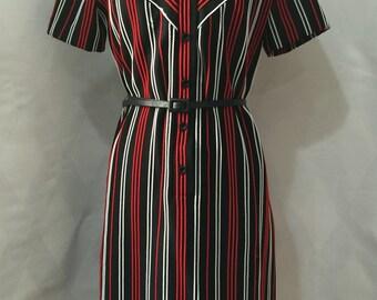 Vintage 1960s Korell Knit Western Stripe Button Front Dress Large
