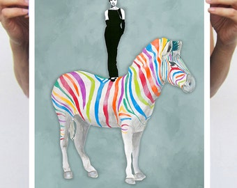Audrey Hepburn Print: Art Print Poster A3 Illustration Giclee Print Wall art Wall Hanging Wall Decor Painting Digital Art, rainbow zebra