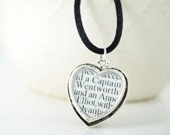Jane Austen Persuasion - Silver Heart Necklace - Literature Jewelry - Jane Austen Jewelry - Classic Literature