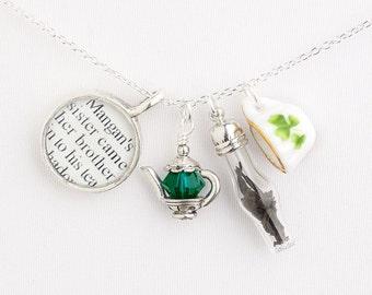 James Joyce Tea Necklace - Literature Jewelry - Irish Jewelry - Irish Tea Jewelry - Irish Writers Jewelry