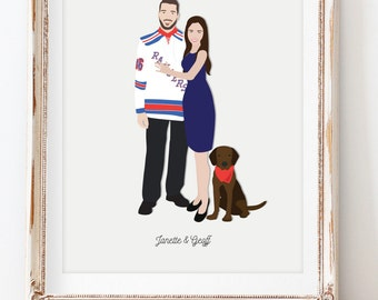 Engagement Gift for Couple, Personalized Couple Portrait, Sports Jersey Portrait, Gift for Groom, Gift for Bride