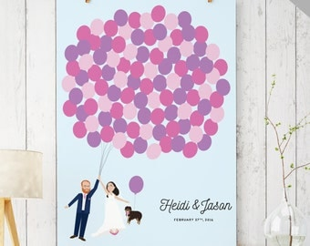 Printable wedding Guest Book Alternative with Balloons - Pets Wedding - Portrait Guest Book with Pets - Unique Guest Book DIGITAL file