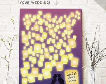 Canvas Wedding Guest Book with Lanterns - Fairy Tale Guest Book - Princess Birthday Guest Book - Unique Guest Book - Guestbook CANVAS