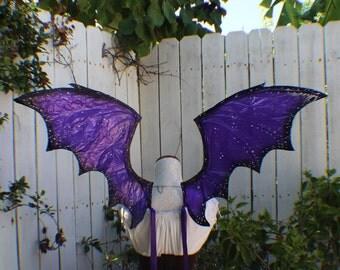 Custom Dark Purple and black dragon wings with jewels