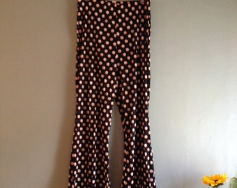 70s Stretch Sz Med Belle Bottoms / Brown and Yellow Polka Dot Pants