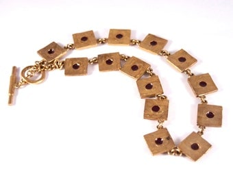 Biche de Bere Paris Necklace - Modernist Brutalist - Matte Gold - Burgundy Enamel - Chunky Choker Collar - Vintage France Signed