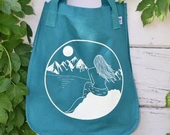 Organic tote bag with mermaid print