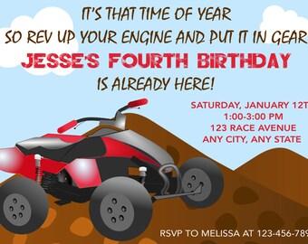 4 Wheeler Invitation, 4 Wheeler Birthday Party Invitations, Four Wheeler Birthday Invitation, ATV Invitation, Quad Invitation, Boy Birthday